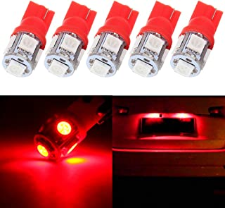 License Plate Lights,cciyu T10 W5W Wedge 194 LED Bulb,Red 168 Light Lamp,5Pack