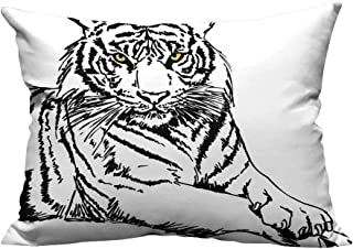 YouXianHome Lovely Cushion Covers Pos Tiger Bright Ey Cat Speci Dark Vertical Strip Black Resists Stains(Double-Sided Printing) 19.5x30 inch