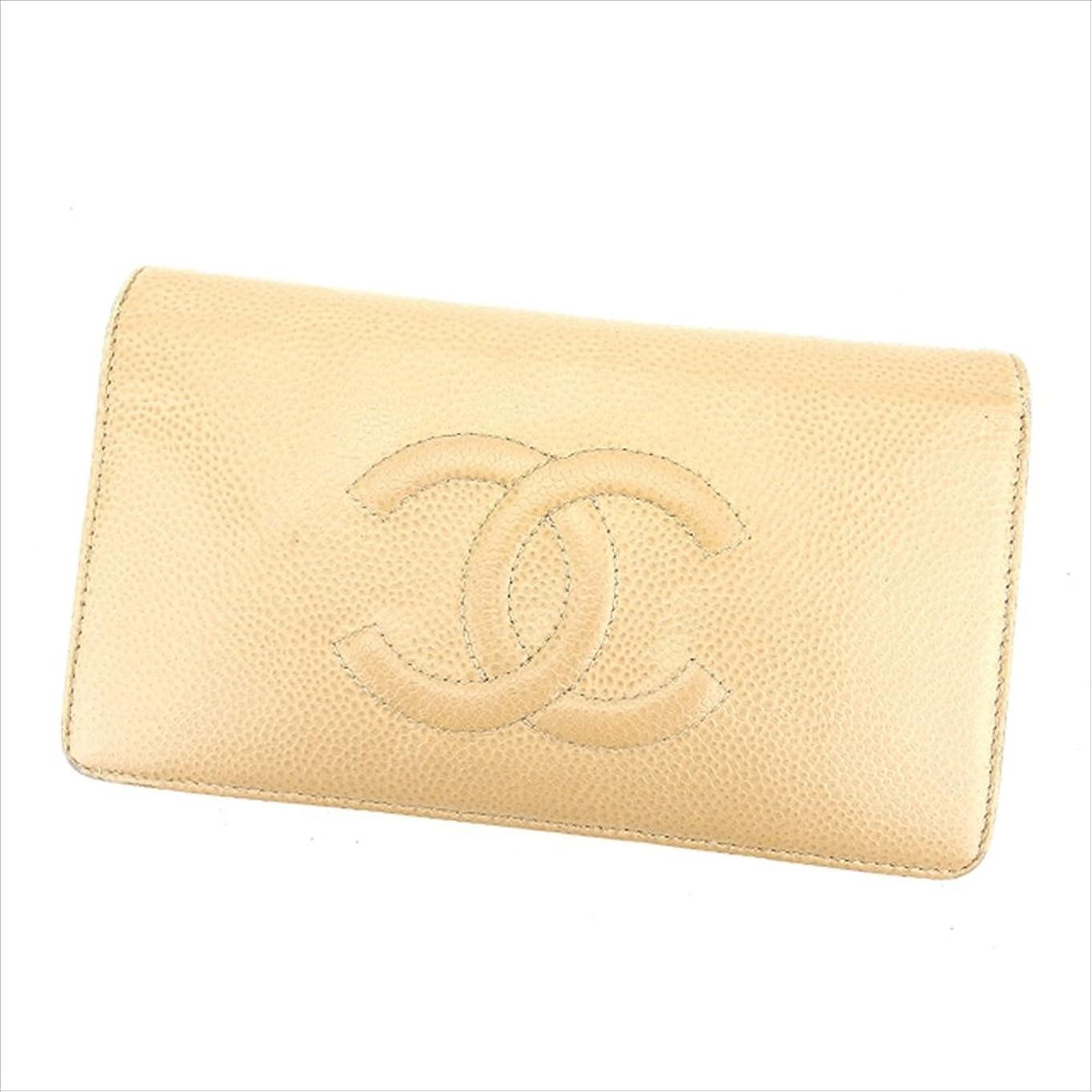 透けて見える私たちのコピー(シャネル) Chanel 長財布 ファスナー付き長財布 ベージュ×グレー ココマーク レディース 中古 L974