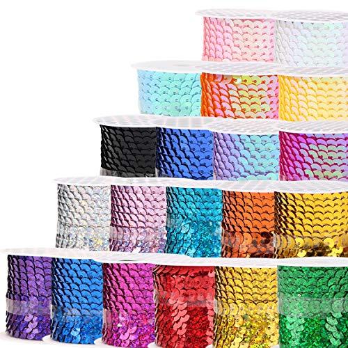 Cinta de Lentejuelas,Zuzer 20 Rollos de Lentejuelas Coloreado Lentejuelas Cinta Paillettes Lentejuelas para Manualidades de Bricolaje Decoración de Collar de Vestir