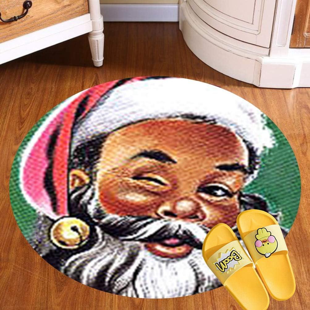 Modern Flannel Microfiber Non-Slip Machine Washable Round Area Rug Living Room Bedroom Study Soft Carpet Floor Mat Home Decor (60CM),African American Black Santa Claus Christmas