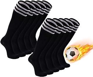 Soccer Socks, FOOTPLUS Unisex Knee High Triple Stripe Football Socks, 2/6/10 Pairs