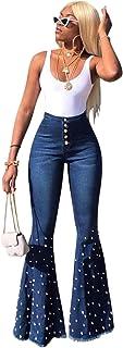 Niceday Elegante elástico de Cintura Alta Jeans Denim Mujer Cuentas Pantalones Casuales Suelta otoño sólidos Pantalones de...