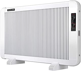 DUOLANG Panel Heater, 1500W Convection Heater, Radiator Heater with Adjustable Thermostat for Indoor Use, Ideal for 300 Sq Ft Room, Freestanding or Wall Mount, Multiple Heat Settings, White