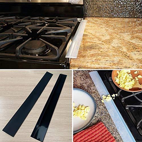 WXX 2 PCS 25 Pulgadas Cocina de Gas de Hendidura de Gaza Antifouling a Prueba de Polvo Impermeable de la Cocina de Sellado de Cinta (Negro) (Color : Black)