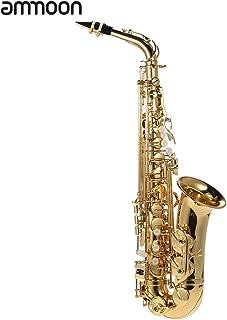 ammoon® bE Alto Saxphone Latón Lacado Oro E Plano Sax 802 Tipo de Clave Instrumento de Woodwind con Cepillo de Limpieza Guantes Corcho Correa de Grasa Caja Acolchada
