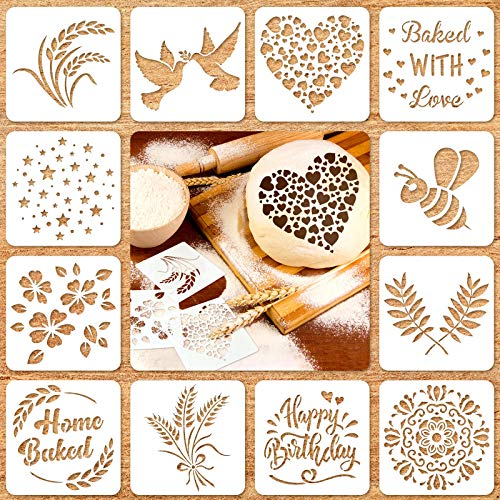 12 Pieces Artisan Bread Stencils Baking Stencil Set Cook Stencil Baking Template Bread, Cake, Pie, or Cookie Stencils Template Mold for Decorating, 12 Styles