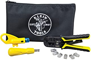 Klein Tools VDV026-212 Twisted Pair Installation Kit with Crimper, Punchdown Tool, Radial Stripper, Data Plugs