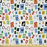 Lunarable Buchstabenstoff von The Yard, buntes Alphabet mit