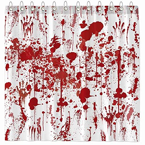 Funnytree Blood Shower Curtain Horror Halloween Bloody Splatter Splashes Home Bathtubs Bathroom Curtain Decoration Set…