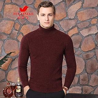 富贵鸟 纯羊毛衫中老年男全羊毛冬季双翻领针织加厚毛衣商务休闲爸爸装保暖打底衫