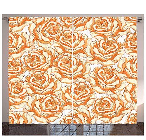 MUXIAND verbrande oranje keukengordijnen romantische rozenboeket in warme tinten Valentijnsdag liefde bloemen raamdecoratie panel set