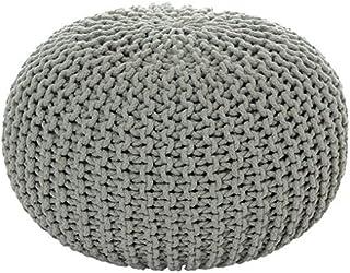 Mab - Cómodo puf de punto para sentarse, para casas modernas, 55 cm, tejido a mano, pendiente de la certificación Ökotex, algodón, Gris claro., 55 x 35cm