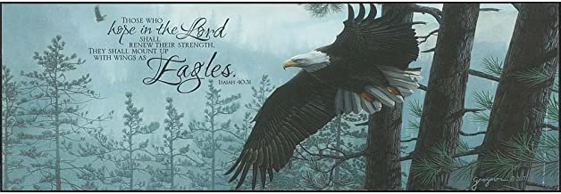 Dicksons Those Who Hope In Lord Soaring Eagle Wintry Forest 5 x 15 Wood Wall Sign Plaque