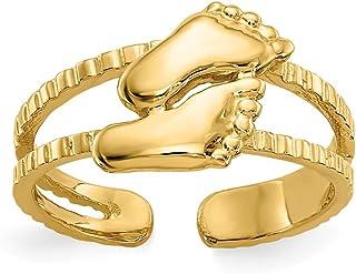 14K Yellow Gold Feet Toe Ring