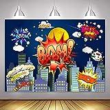 Superhero City Skyline Background MME 10x7Ft Photo Booth Backdrop Studio Props LSME774