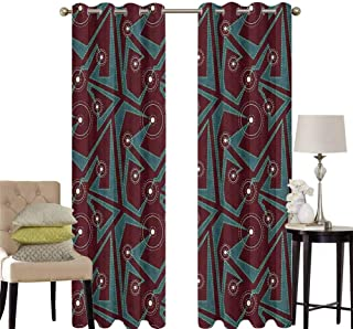 hengshu Retro Patio Door Curtains for Bedroom Abstract Tribal Pattern with Geometric Details Dashed Lines and Circles Thermal Insulated Noise Reducing W42 x L63 Inch Burgundy Teal Cream