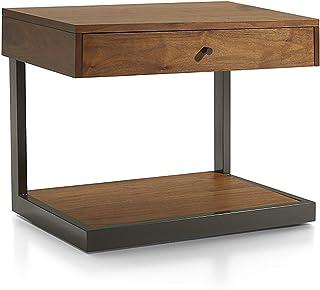 Table de Chevet en Bois Massif de Fer forgé Moderne Minimaliste Nordic Produit de Chevet Armoire de Chevet,Marron