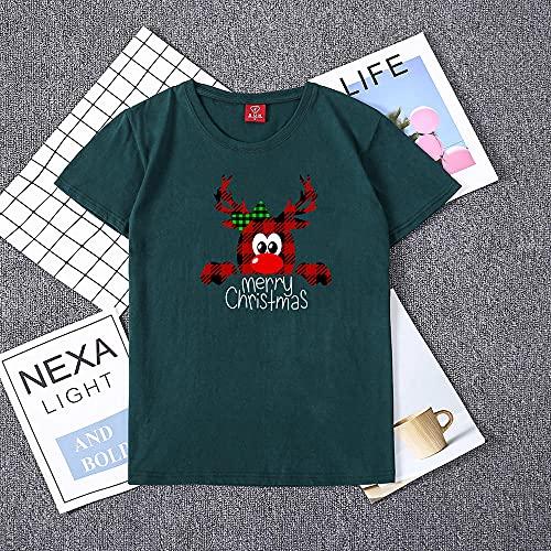 Camisetas Divertidas Familia Navidad Mujer Crewneck Manga Corta Hermosa Cabeza Roja Impresión Alegre Otoño Tops Se Aplican Al Ejercicio De Desgaste Diario Corriendo Etc-Dg_XXL