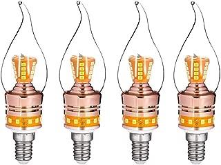 JKLcom E14 LED Candelabra Light 8W LED Candle Bulb,Equivalent 65 Watt Incandescent/Halogen Bulbs,for Chandelier Home Lighting,Warm White 3000K,E14 Candelabra Base,Non-Dimmable,Pack of 4