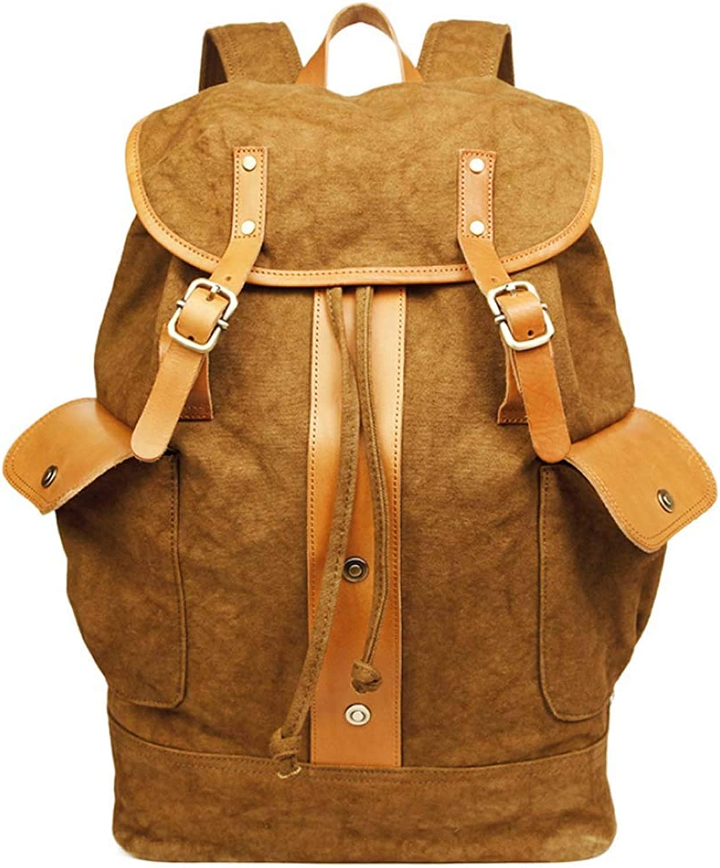 Canvas Backpack, Tide Retro Wind Bag Student Bag Backpack Canvas Back Suitable for School,Beige,31  16  46cm