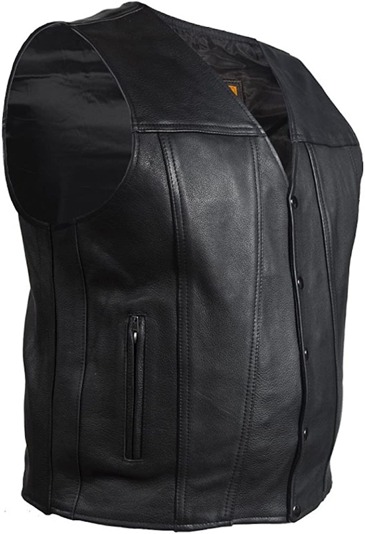 Mens Naked Leather Classic Motorcycle Club Vest with Gun Pockets Solid Back