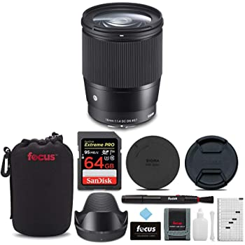 Sigma 16mm f/1.4 DC DN Contemporary Lens for Sony with 64GB Extreme PRO SD Card and Accessory Bundle