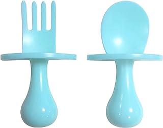TEN@NIGHT Baby Spoon Fork Self Feeding Utensil Set Baby First Training Weaning for 6+ Month Baby Toddler BPA Free (Blue)