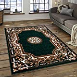Allstar 8x10 Hunter Green and Ivory Classic Floral French Country Machine Carved Effect Rectangular Accent Rug with Mocha and Espresso Bordered Medallion Design (7' 9' x 10' 1')