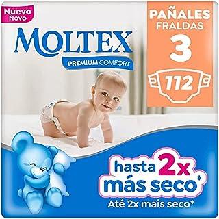 Moltex Premium Comfort Pañales(4-10 Kg), White, Talla 3, 112 Unidad