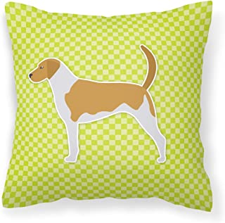 "Caroline's Treasures BB3798PW1414 American Foxhound Checkerboard Green Pillow, 14"" x 14"", Multicolor"