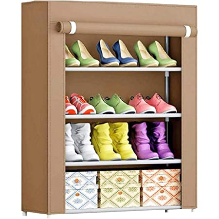Ebee Store Metal Collapsible Shoe Stand (Chiku, 4 Shelves)