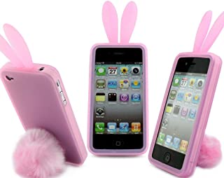 Light Pink-Bunny Rabit Silicone Case Skin for Iphone 4 4s Stand Tail Holder