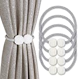 PINOWU Magnetic Curtain Tiebacks Convenient Drape Tie Backs (4pcs), Pearl Decorative Holdback Rope Holder for Small, Thin or Sheer Window Draperies (Gray)