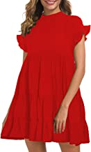 MIHOLL Women's Casual Summer Ruffle Babydoll Loose Mini Dress