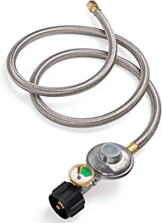 SHIENSTAR 5FT Stainless Braided Propane Regulator Hose with Gauge, LP Gas Regulator for Smoker, Burner Stove, Fire Pit, Gas Water Heater, Forced Air Heater - 3/8 Female Flare Fitting x QCC1