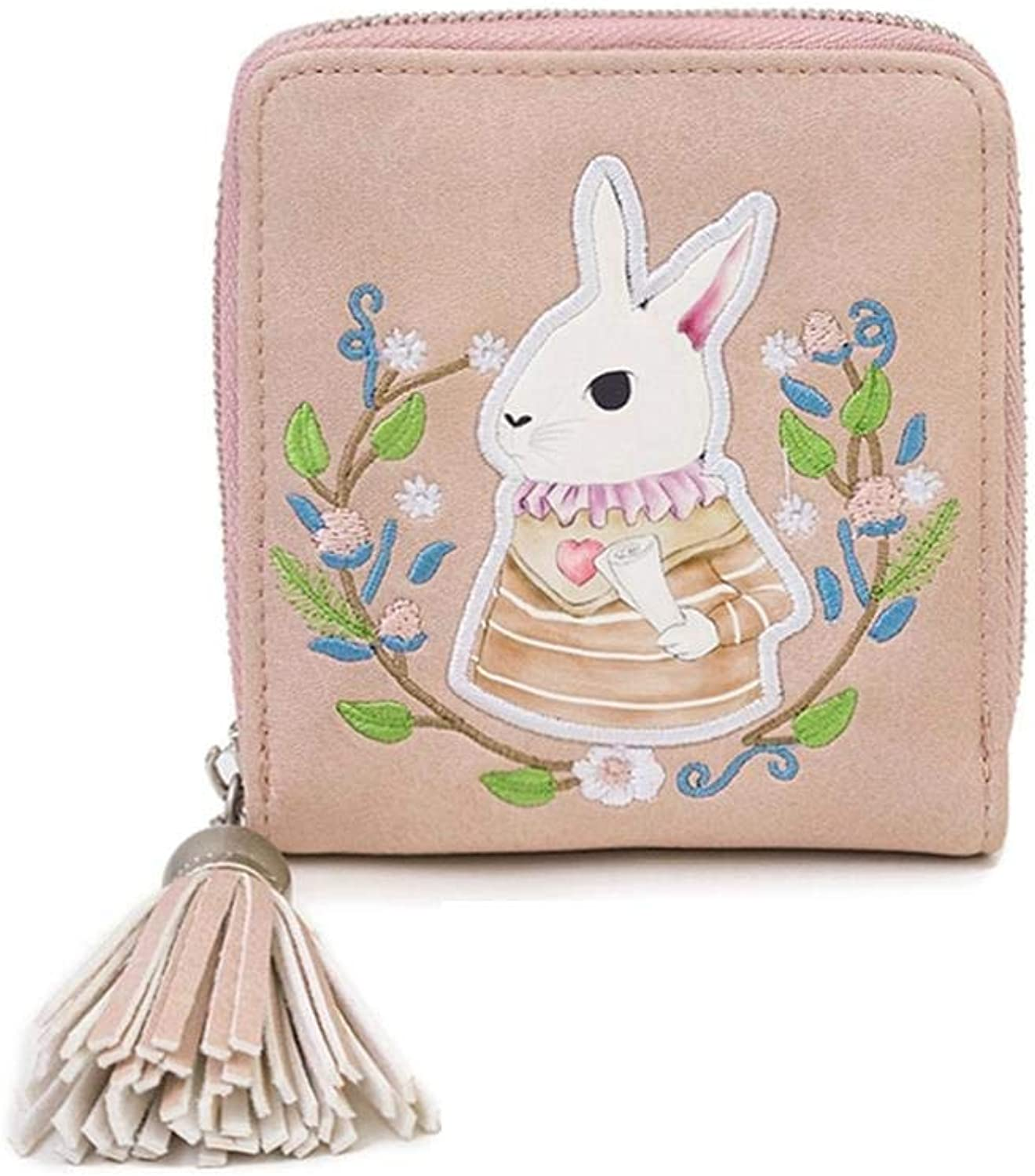 WeoHau Embroidered Zipper Tassel Wallet Ladies Pu Short Student Cute Simple Small Fresh,Pink