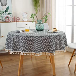 ZEENEEK Round Tablecloth, Stripe Cotton Line Tassel Table Cover Nordic Twill Tablecloth Washable Dining Decorative for Holiday Home Christmas Party Picnic (Grey)