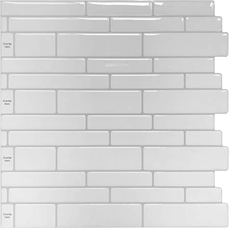 Peel and Stick Backsplash Tile Shelf-Adhesive Wall Stickers (10 Sheets) Off White Subway Tile with Grey Grout