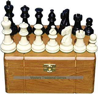Masters Traditional Games Jester 10x10 Chess Set - Black/White in Teak Box (no Board)