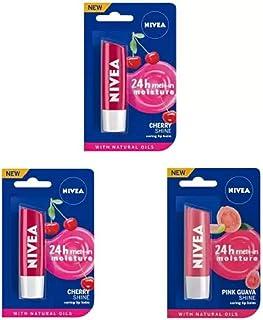 Nivea Shine Caring Lip Balm #34 Cherry Shine, Cherry Shine, Pink Guava Shine (Pack of: 3, 14.4 g)