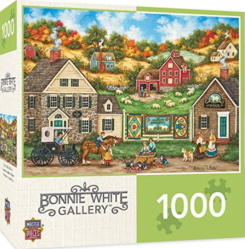 MasterPieces Hometown Gallery Jigsaw Puzzle, Great Balls of Yarn, Featuring Art by Bonnie White, 1000Piece, Assorted, 19.25