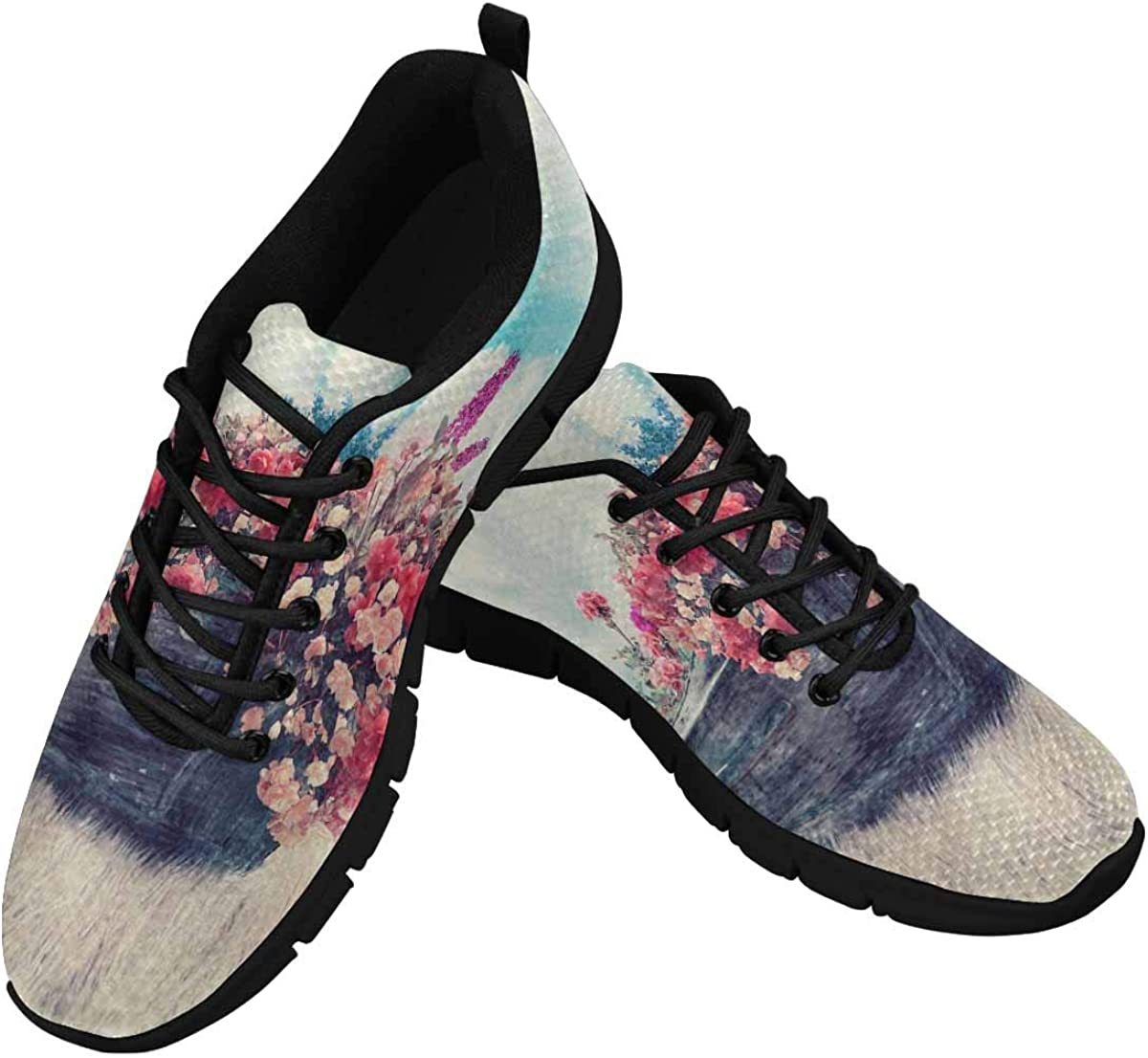 INTERESTPRINT Boat with Flowers Women's Breathable Comfort Mesh Fashion Sneakers