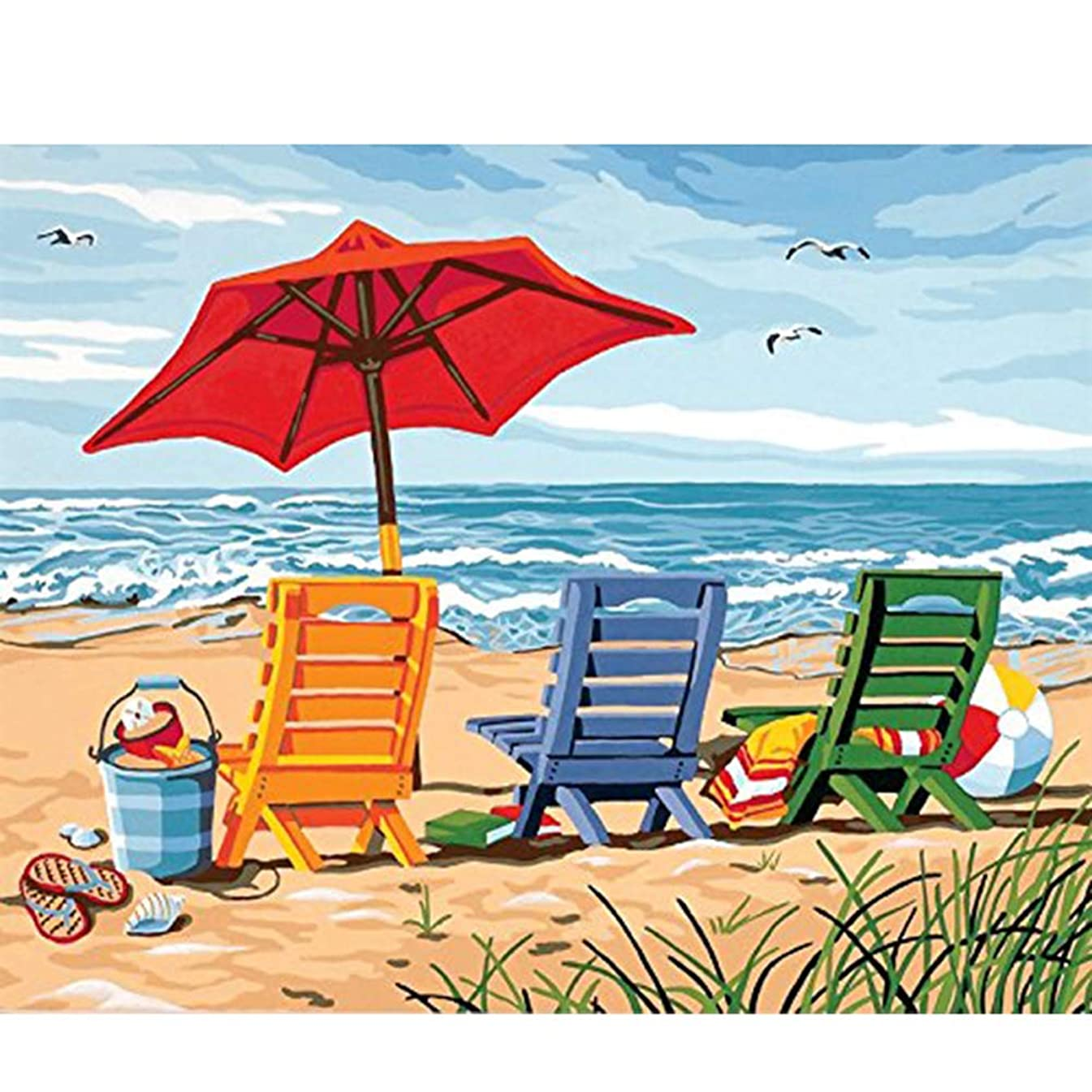 waitata DIY Oil Painting for Adults Kids Painting by Number Kit Digital Oil Painting Blue Sky Ocean Beach 16X20 Inch
