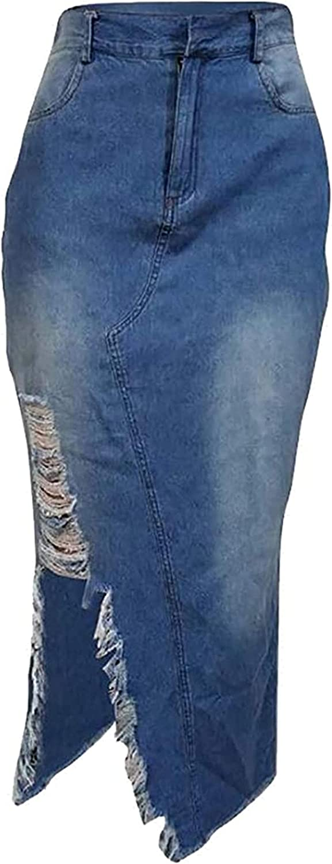 ZYUEER Womens Casual Distressed Fray Hem A-Line Denim Short Skirt