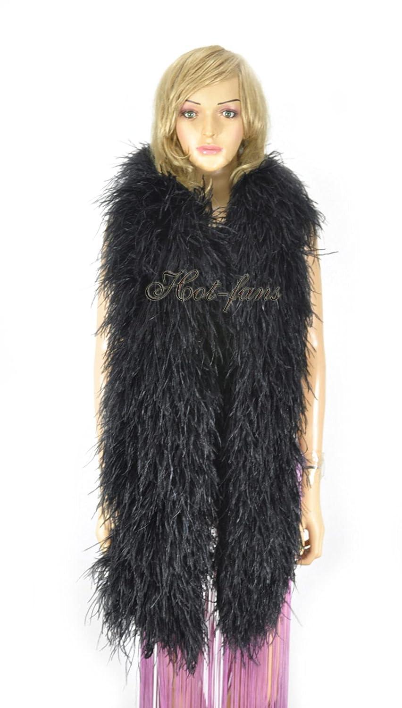 20 ply Black Luxury Ostrich cm 180 71