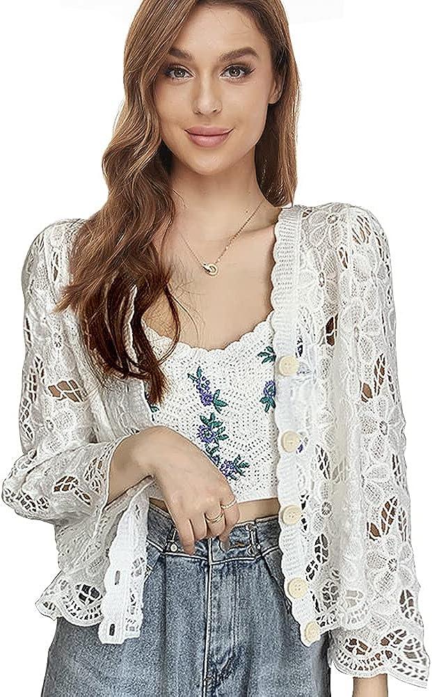 Women Cardigan Hollow Out Floral Bolero Crochet Shrugs Long Sleeve