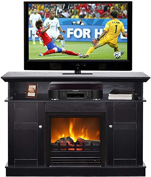 Tangkula Fireplace TV Stand For TV Up To 50 Home Living Room Wooden Media TV Stand Fireplace