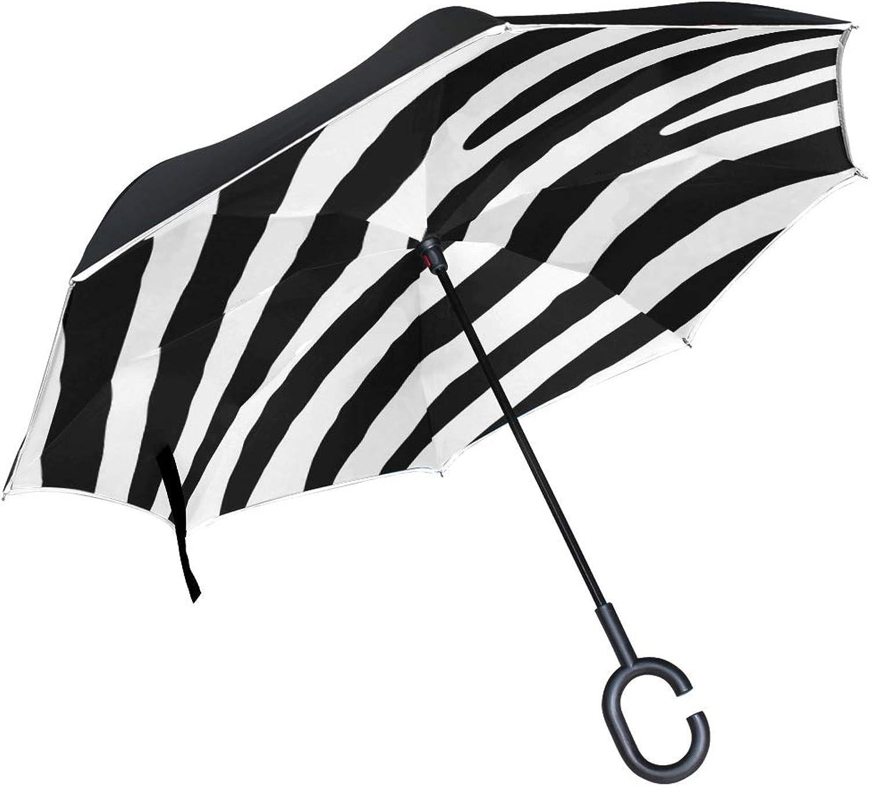 Double Layer Ingreened Zebra Skin Pattern Stripes Black White Nature 938706 Umbrellas Reverse Folding Umbrella Windproof Uv Predection Big Straight Umbrella for Car Rain Outdoor with CShaped Handle