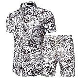 Hawaiana Camisa Hombre Verano Tendencia Moda Estampado Hombre Manga Corta Set Moderno Básico Ajustado Elástico Cárdigan Playa Shirt Urbanos Lazada Casual Vacaciones Shirt G-DC02 M